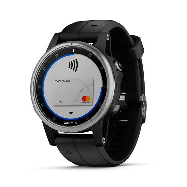 Garmin fenix 5s plus plata con correa negro mar 42mm reloj gps bluetooth wifi frecuencia cardíaca y actividad